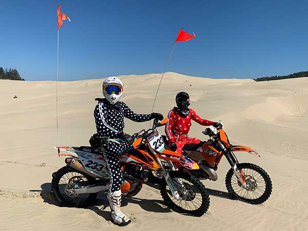 Dr. Huish rides bike at desert